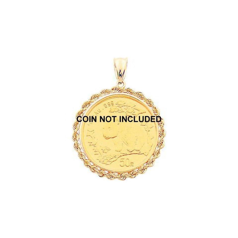 14K Gold Bezel Pendant for 1/2oz Chinese Panda Coin New
