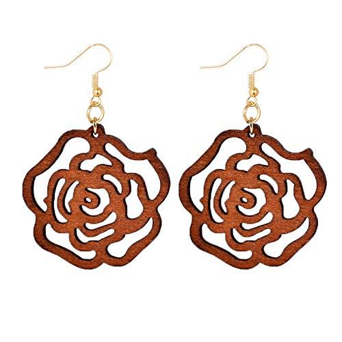 Tribal Wood Earrings - Valentines Geometric Hollow Wooden Earrings for Women Bohemian Boho Laser Cut Big Wood Light Weight Tribal Earrings Girls (E-Brown)