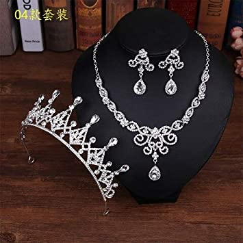 849b9f594a Fashion Crystal Wedding Bridal Jewelry Sets Tiara Crown Earring Necklace  Bride Women Pageant Prom Jewelry Set