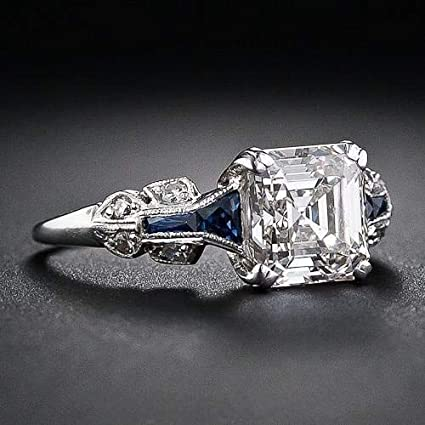 Jewellery & Watches Vintage 925 Silver White Topaz Sapphire Engagement Wedding Ring Size 6-10 Fashion Jewellery