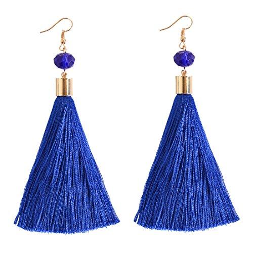 NLCAC Women Thread Tassel Dangle Earrings Silk Fringe Thread Drop Earrings for Parties (royal (Tone Bead Drop)