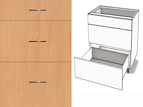 Premium-Ambiente AGE0229 Unterschrank 3-Schubladen Soft Closing FE (Breite  60cm, 22 Ellmau Buche)