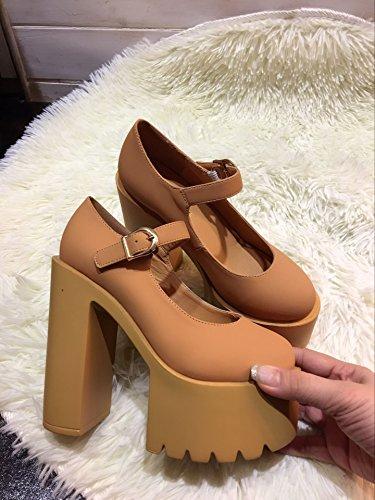 Lvyuan Cn37 Tacones plataforma Walking charol moda Brown Mujer Tacón Zapatos Oficina Chunky Carrera amp; Buckle rrxw4qd