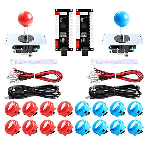 Easyget 2 Player SANWA Arcade Game DIY Bundle for USB MAME Cabinet & Raspberry Pi RetroPie DIY Projects - Red + Blue Color