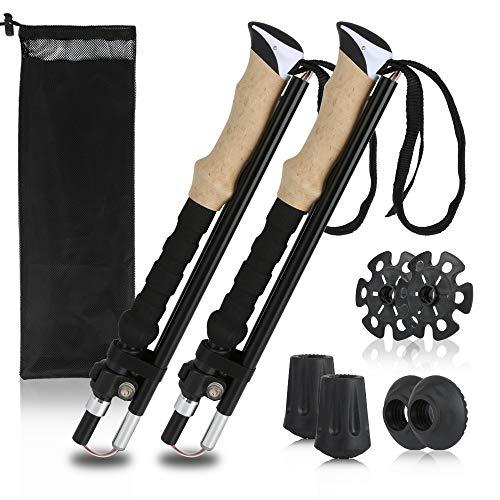 Hiker Era Collapsible Trekking Poles 2 Pack Ultralight Hiking Poles Aluminum 7075, Strong Lightweight Walking Sticks with Quick Flip-Lock