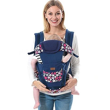 ThreeH Mochila portabebés nacidos transpirable con asiento y bolsillos para la cadera BC09,Blue: Amazon.es: Bebé
