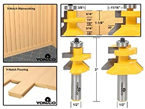 Yonico 15227 Matched Tongue and Groove V-Notch Router Bit Set 1/2-Inch Shank by Precision Bits.com