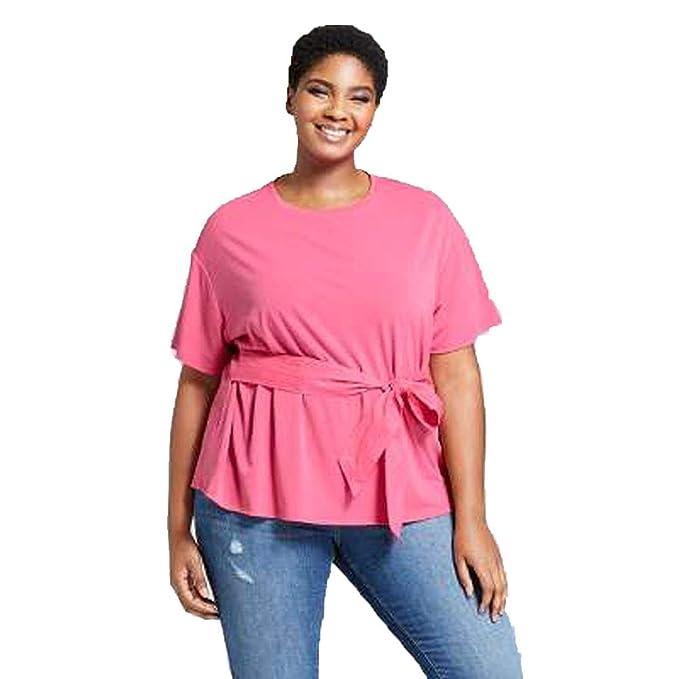 0c3ab75e06e Ava   Viv Women s Plus Size Knit Woven Tie Short Sleeve T-Shirt - Pink