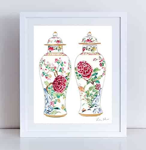 Rose Famille Ginger Jar Vases Art Chinoiserie Art Chinese Antique Painting Watercolor Art Asian Art Chinese Wall Decor Canvas Art Print Ginger Jar Art Pair of Pretty Vases Unframed