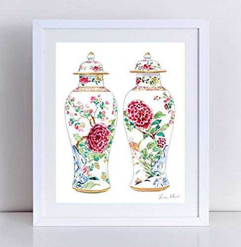 Rose Famille Ginger Jar Vases Art Chinoiserie Art Chinese Antique Painting Watercolor Art Asian Art Chinese Wall Decor Canvas Art Print Ginger Jar Art Pair of Pretty Vases (Rose Ginger Jar)