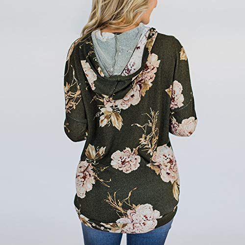 Flower Tops Sweatshirts Casual Pocket VEMOW Printing Sweatshirts Army for Women Green Women Women for Caps Pulling Ladies for Women Rope 1w1PXZqf