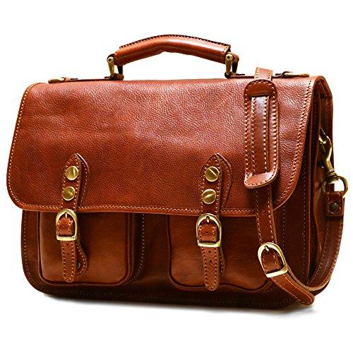 Floto Poste Messenger Bag in Saddle Brown Calfskin Leather
