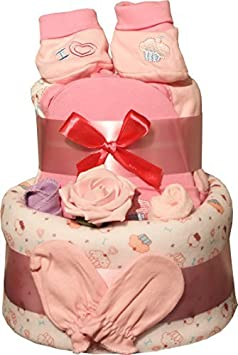 Nappy Cake Cream Pink or Blue Design Includes 9 Piece Blanket Gift Set For Baby Shower Gift Cream Pink or Blue Blue