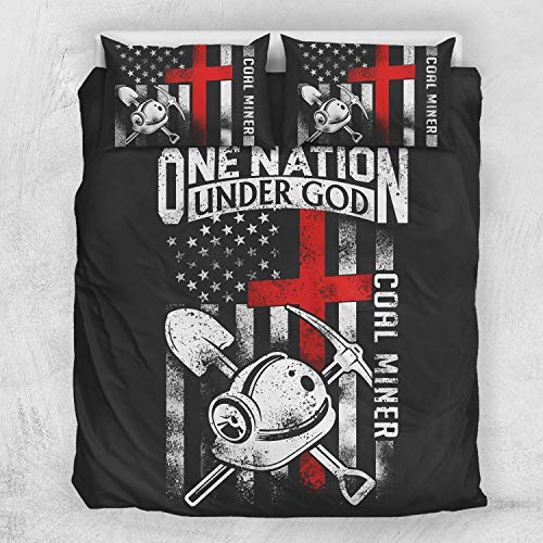 (Coal Mining Birthday Christmas Patriotic Dad Husband Gifts Coal Miner USA American Flag Duvet Cover Bedding Sets with 2 Pillowcases For Adults King Queen Full Twin California King Sizes)