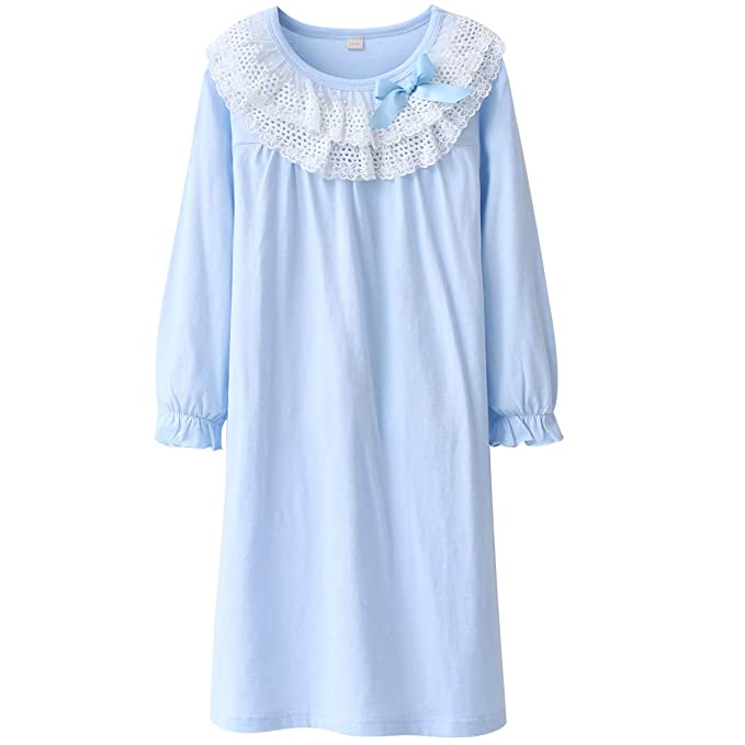 e07cf3645 Amazon.com  DGAGA Kids Girls Cotton Lace Nightgown Long Sleeve Solid ...