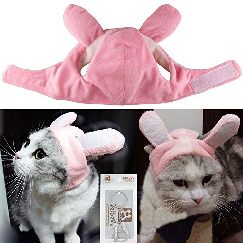 Bolbove Bro'Bear Bunny Rabbit Hat with Ears for Cats & Small Dogs Party Costume Accessory Headwear (Pink Bunny, Medium)