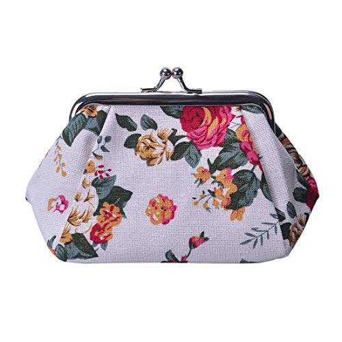 Oyachic Printed Coin Purse Vintage Pouch Buckle Clutch Bag Kiss-lock Change Purse Floral Clasp Closure Wallets For Women Girl ()