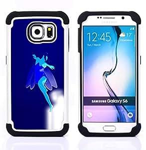 - Blue Flying Fairy/ H??brido 3in1 Deluxe Impreso duro Soft Alto Impacto caja de la armadura Defender - SHIMIN CAO - For Samsung Galaxy S6 G9200