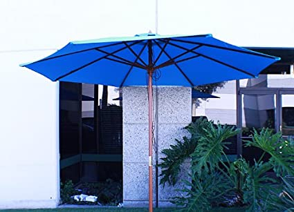 New 12' FT Outdoor Patio Market Wooden Wood Umbrella Yard Beach Shade Blue - Amazon.com : New 12' FT Outdoor Patio Market Wooden Wood Umbrella