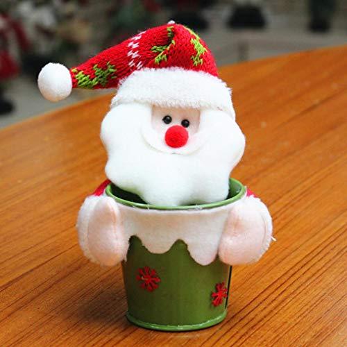 H+K+L Santa Claus Snowman Elk Christmas Decorations Portable Candy Packaging Christmas Candy Jar ()