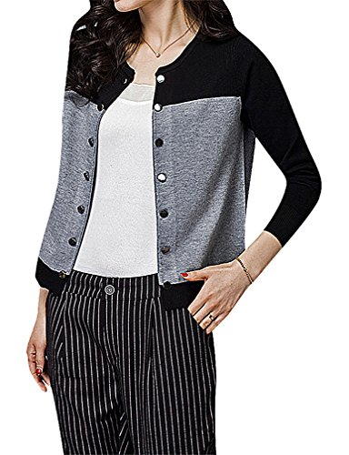 Maze, Women's Panelled Long Sleeve Button Up Ribbed Cuff O Neck Mini Cardigan, Black M ,Manufacturer(L)
