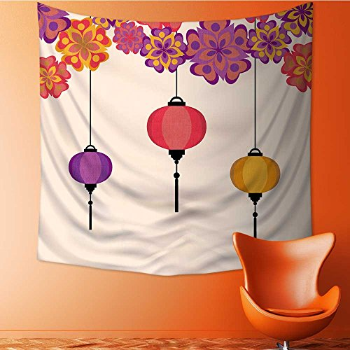 Price comparison product image Muyindo Wall Tapestry Flower Tapestry Floral Words Tapestry Wall Hanging vector illustration of chineese lanters decoration colorful fun set Tapestry Wall Decor Quote Tapestry / 35.4W x 35.4L INCH