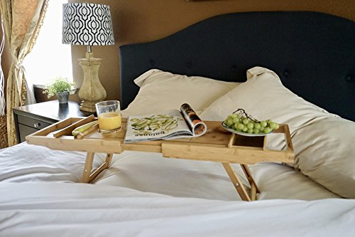 Bed Table & Bathtub Tray -- Combines bamboo bath tub caddy for relaxation and bed tray for productivity into 1 -- Luxurious bathtub caddy for bath accessories wine glass book iPad phone and laptop by Sugarwood Home (Image #6)