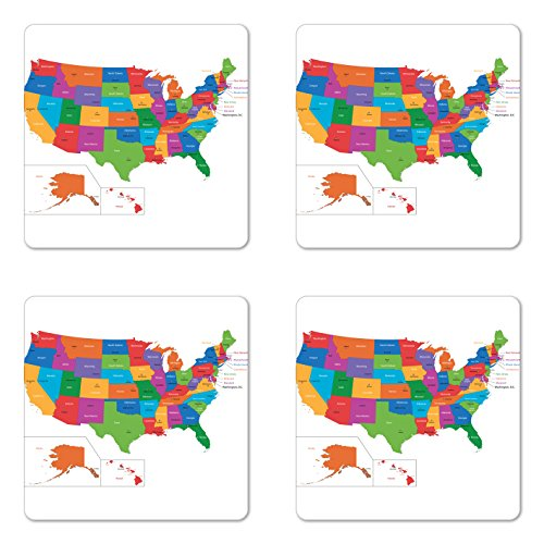 Ambesonne Wanderlust Coaster Set of Four, Colorful USA