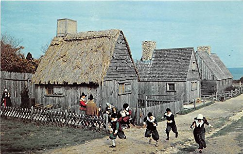 Children in Pilgrim costumes romp in the street Plimoth Plantation Plymouth Massachusetts Postcard