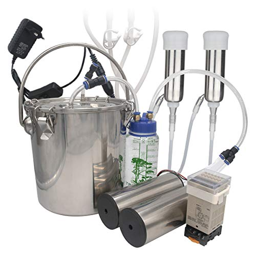 Milking Machine for Cow, HANTOP Portable Electric Cow Milker Milking Machine with 2 Teat Cups, Adjustable Pulsation Device, 7L Stainless Steel Milk Bucket, Food Grade Hose (for Cow)