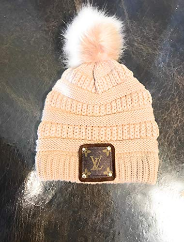 Crochet Beanie with lv Louis Vuitton Upcylced - Hat Lv