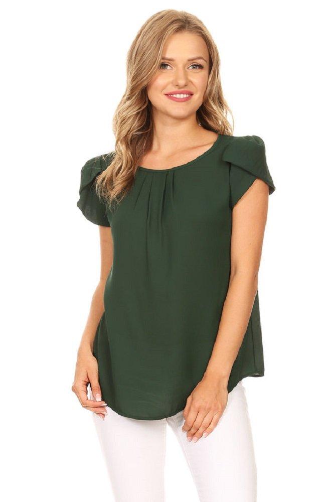 989962e638cec2 VIA JAY's Basic Casual Simple Short Sleeve Blouse TOP