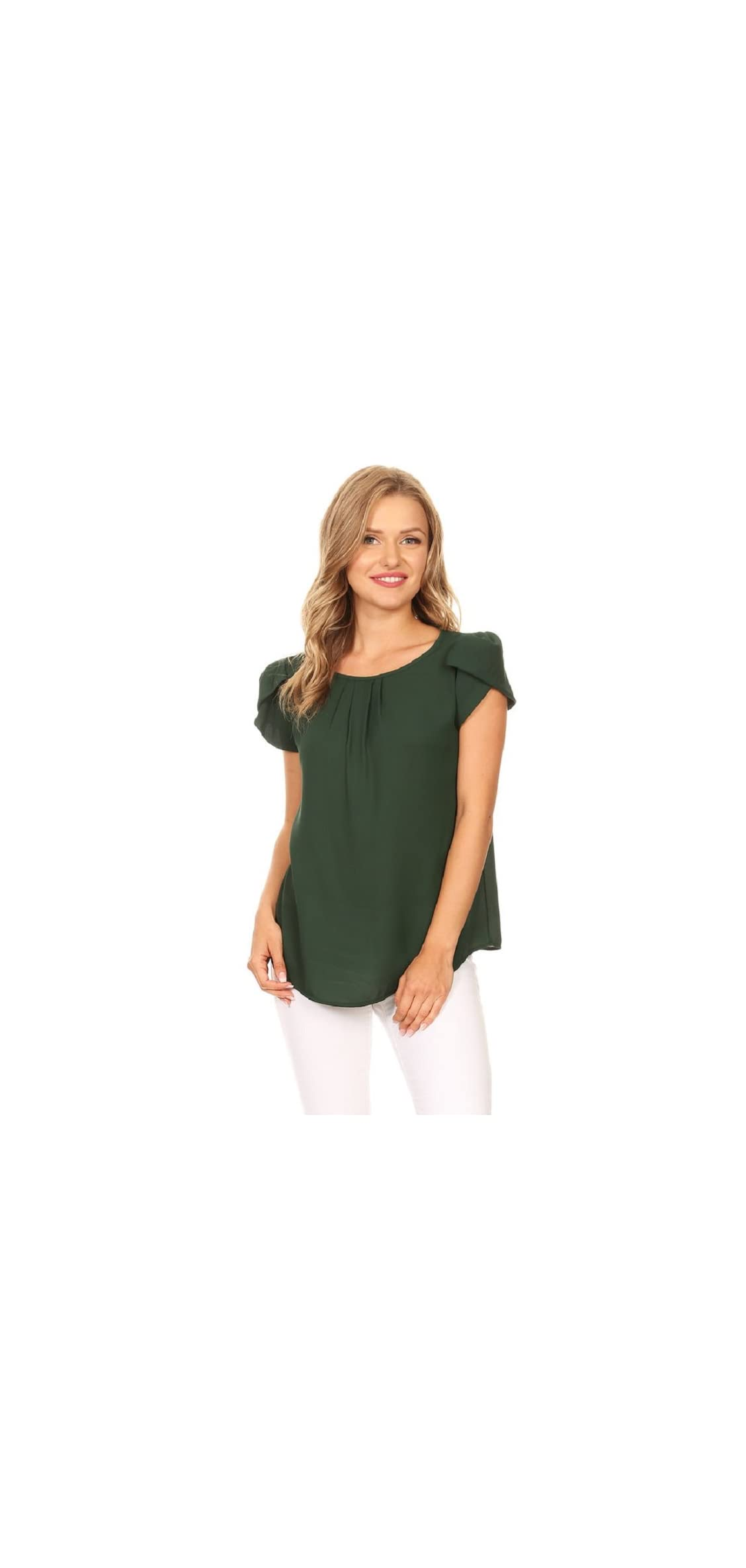 Via Jay Women's Thin Basic Casual Simple Short Puff Sleeve Top