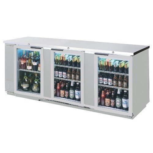 "Beverage-Air BB94G-1-S 94"" Stainless Steel Back Bar Refrigerator 3 Glass Doors"