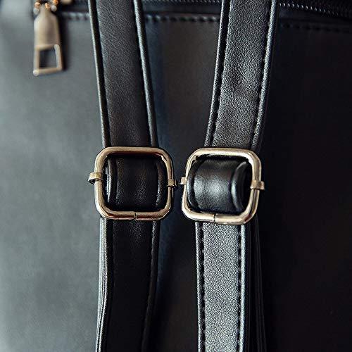 Black Mini Bag Tassel Woman Synthetic Leather Shoulder Backpack 0FSZfZpW