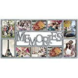 Adeco 10 Openings Distressed Wood Style Plastic Memories Wall Hanging Collage Picture Photo Frame - Heather Grey - Made to Display Four 5x7, and Six 4x6 Photo or Print