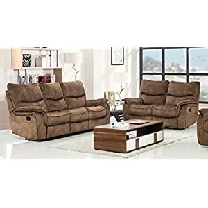 Blackjack Furniture 7167 Charlton Collection Palomino Modern Reclining Living Room, Loveseat, Sofa, Light Brown