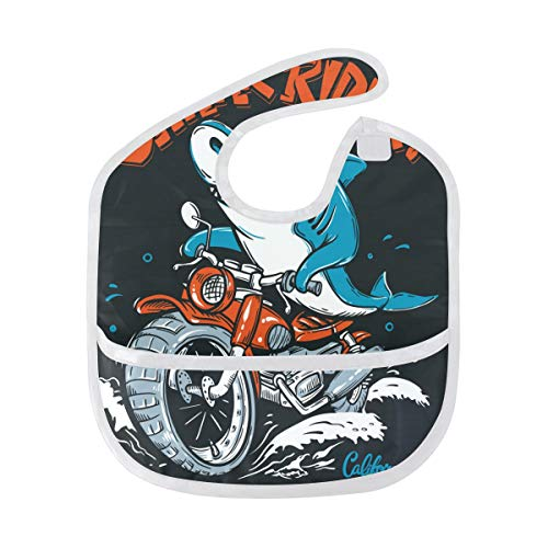 Shark Rider Baby Bibs Waterproof, Washable, Stain and Odor Resistant for Boys Girls ()