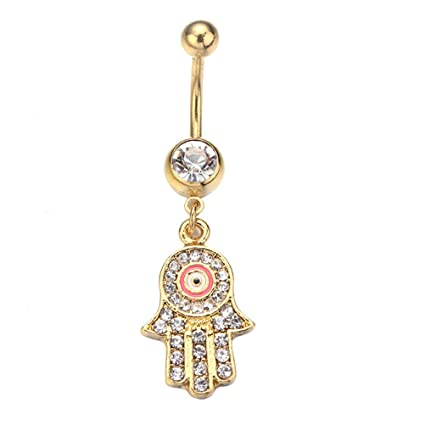 Amazon Com 1pc Hamsa Hand Navel Ring Evil Eye Belly Rings Body