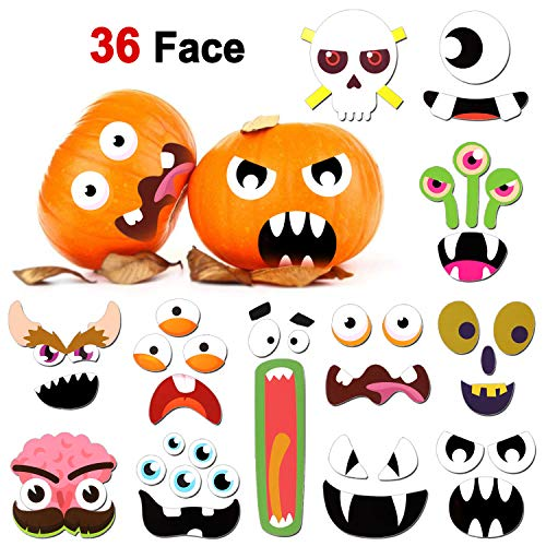 Konsait 36 Face Pumpkin Decoration Halloween Pumpkin Stickers Pumpkin Craft Stickers Pumpkin Decorating Craft Kit for Halloween Party Decor Supplies Trick or Treat Party Favors