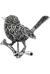 Sterling Silver Chickadee Pin with Marcasite Stones