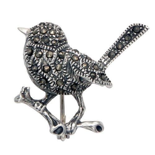 Sterling Silver Chickadee Pin w/Marcasite (Chickadee Garden Stone)