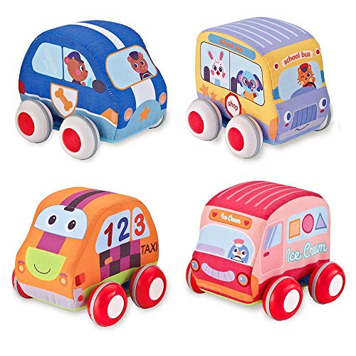 Beebeerun Car Toys Gifts for Toddlers, Kids Pull-Back Vehicle Set - Soft Baby Toy Set with 4 Cars and Trucks ()