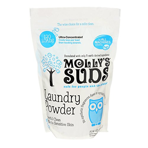 Molly's Suds All Natural Laundry Powder 120 Loads - Free of Harsh Chemicals, Gentle on Sensitive Skin & Eczema. Perfume Free - Contains Pure Peppermint Essential Oil