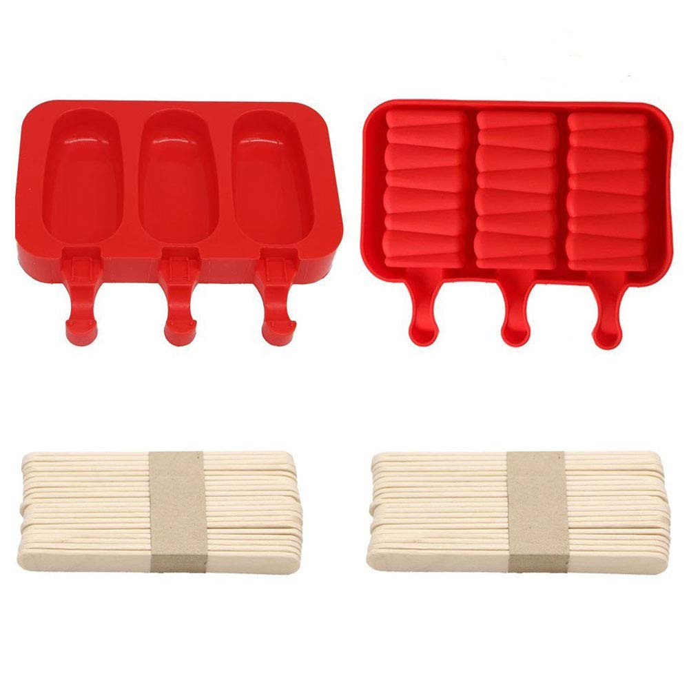 Pack of 2,3 Cavities Silicone Cute Mini Ice Pop Mold with Lid,Ice Cream Maker Mold Cute Popsicle Mold with 20 Wooden Sticks (red style1)