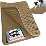 "XL Cat Litter Trapper With EXCLUSIVE Urine/Waterproof LAYER ONLY by iPrimio ®. EZ Clean. Soft & Light. XL Size (30"" x 23""). Urine pad Feature. (Patent Pending) Brown Color."