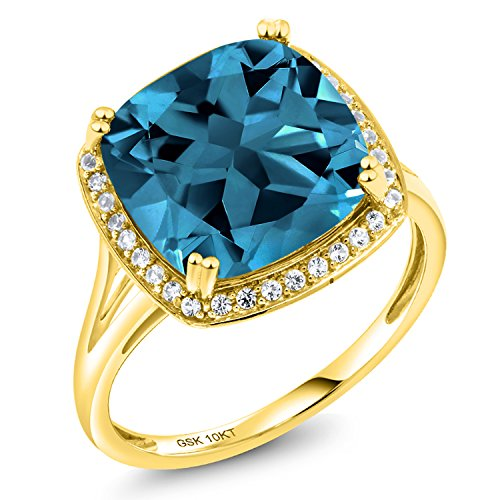 Gem Stone King 10K Solid Yellow Gold London Blue Topaz and White Diamond Women's Engagement Ring (8.54 Cttw Cushion Cut, Available 5,6,7,8,9) (Size 6) (London Blue Topaz And Diamond Engagement Ring)
