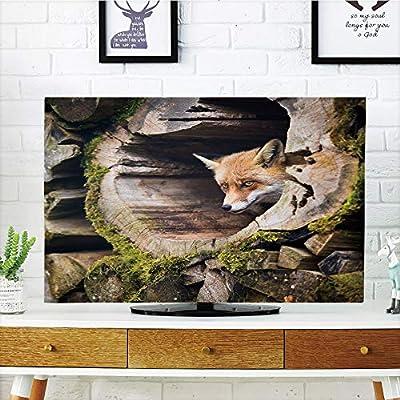 Cubierta de polvo para televisor LCD, diseño de animales, con estampado de peces y criaturas marinas submarinas, ilustración artística del mundo, color blanco y negro, diseño de impresión 3D compatible con TV