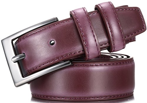Marino's Men Genuine Leather Dress Belt with Single Prong Buckle – Burgundy – 40 (Waist: 38)