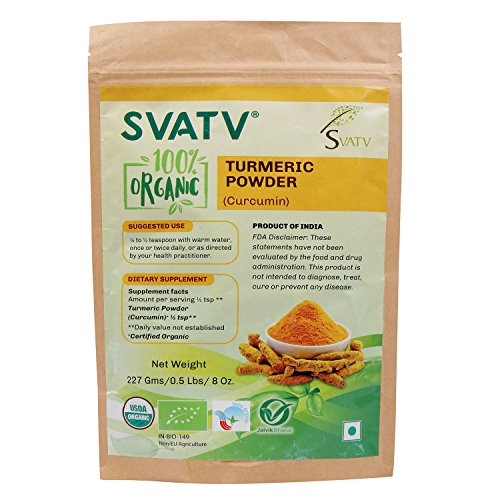 SVATV Organic Turmeric Powder (Curcumin) 1/2 LB, 08 oz, 227g USDA Certified Organic- Biodegradable Reselable Zip Lock Pouch, Traditional Cooking Spice That Promotes Digestion Overall Health* by SVATV